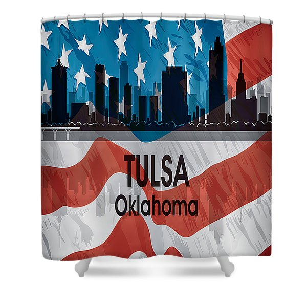 Tulsa Ok American Flag Vertical Shower Curtain