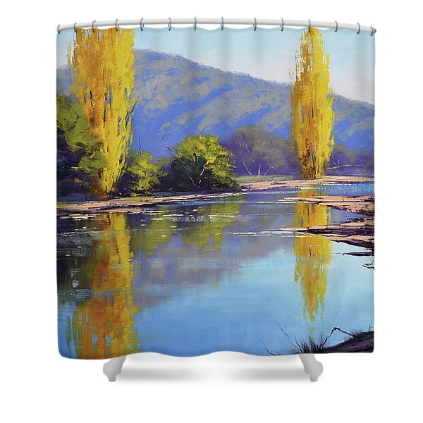 Tumut River Poplars Shower Curtain