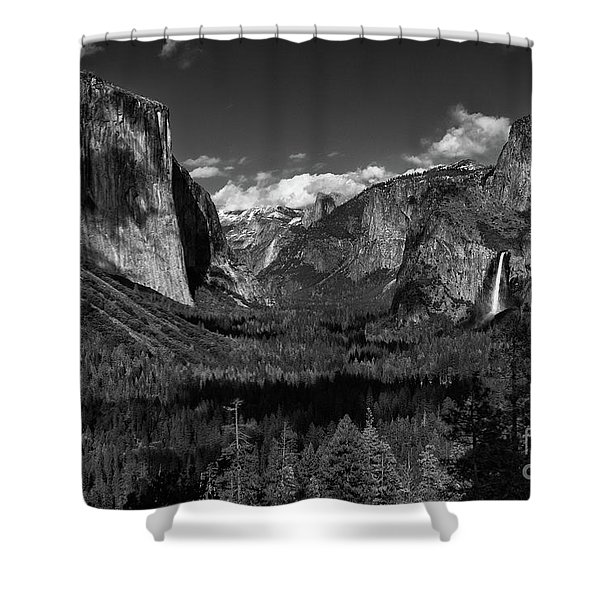 Tunnel View Black And White  Shower Curtain