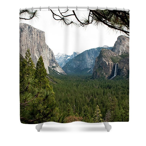 Shower Curtain featuring the photograph Tunnel View Framed by Lorraine Devon Wilke