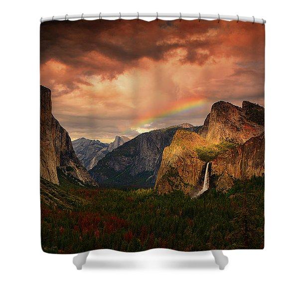 Tunnel View Rainbow Shower Curtain