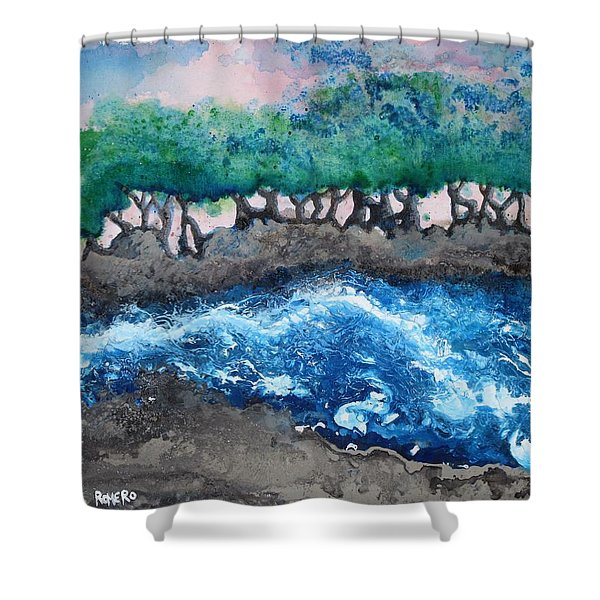 Shower Curtain featuring the painting Turbulent Waters by Antonio Romero