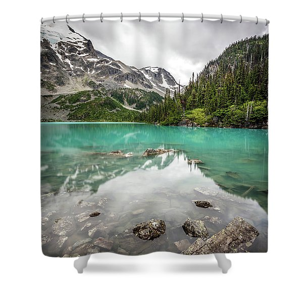 Turquoise Lake In The Mountains Shower Curtain