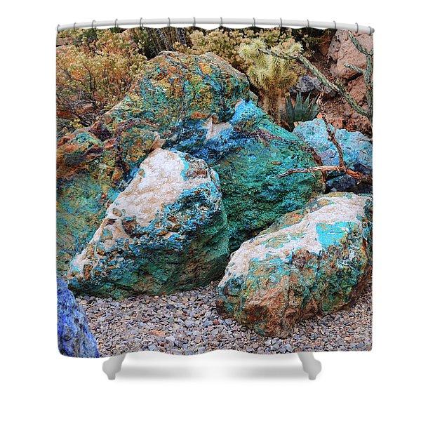Turquoise Rocks Shower Curtain