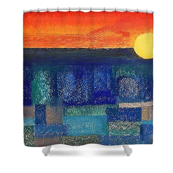 Turquoise Sunset Shower Curtain