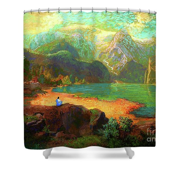 Turquoise Tranquility Meditation Shower Curtain