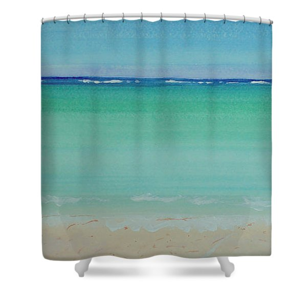 Turquoise Waters Long Abstract Shower Curtain