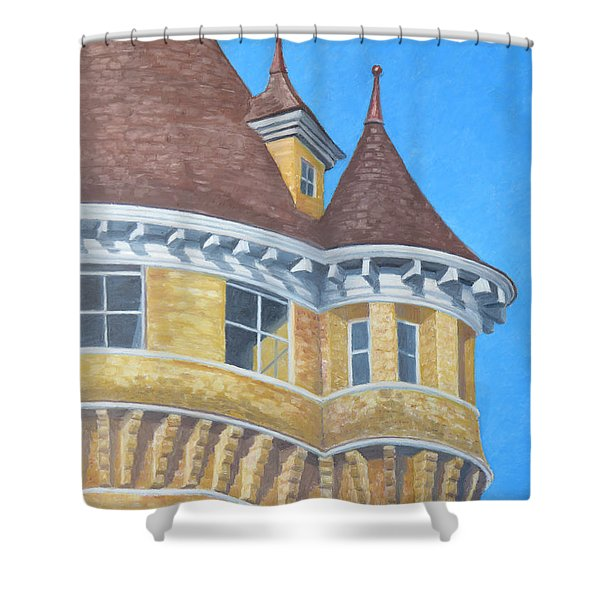 Shower Curtain featuring the drawing Turrets Of Lawson Tower by Dominic White