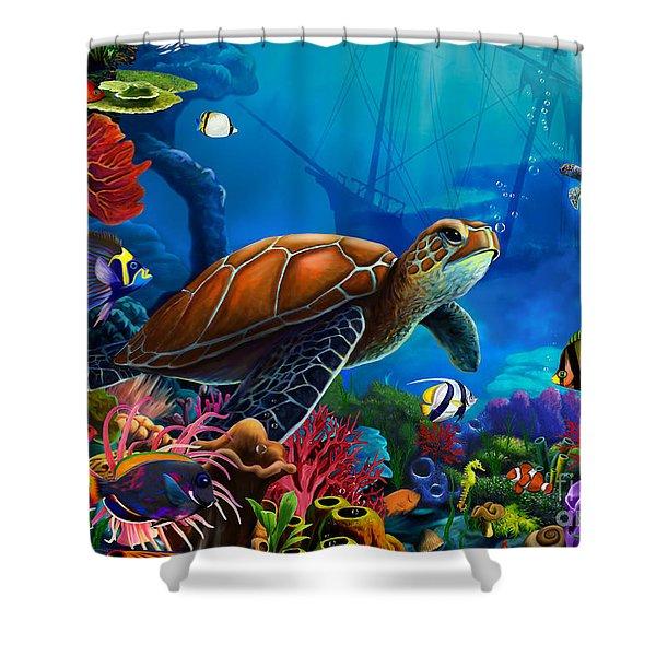 Turtle Domain Shower Curtain