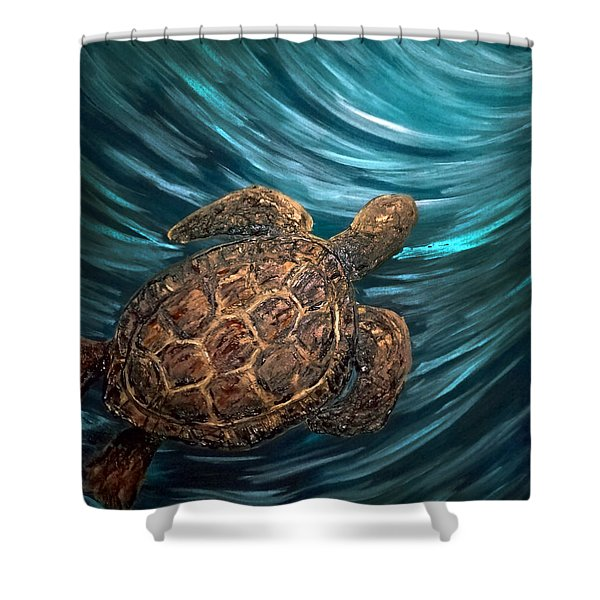 Turtle Wave Deep Blue Shower Curtain