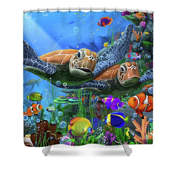 Turtles Of The Deep Shower Curtain