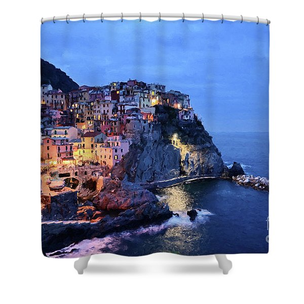 Shower Curtain featuring the mixed media Tuscany Like Amalfi Cinque Terre Evening Lights by Rosario Piazza