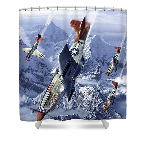 Tuskegee Airmen Flying Near The Alps Shower Curtain