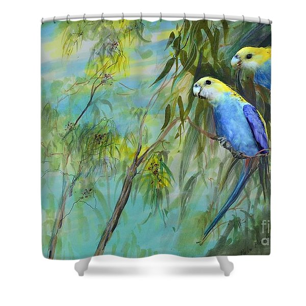 Two Pale-faced Rosellas Shower Curtain
