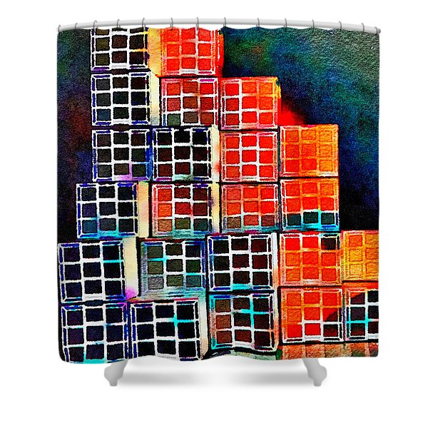 Twenty Four Boxes Shower Curtain