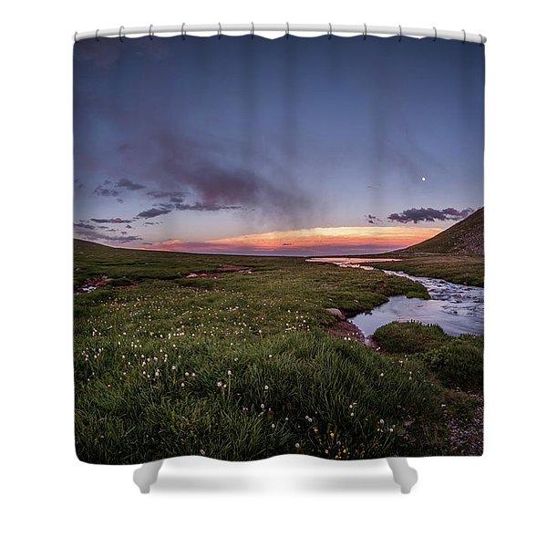 Twilight Alpine Stream Shower Curtain
