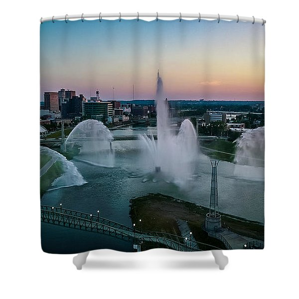 Twilight At The Fountains Shower Curtain