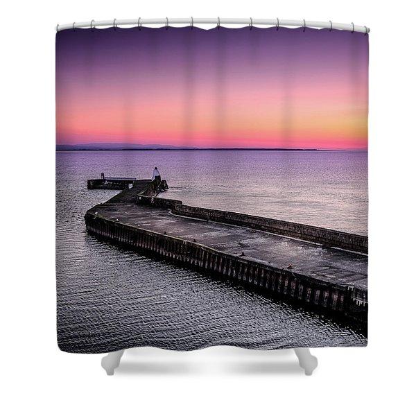 Twilight, Burghead Harbour Shower Curtain