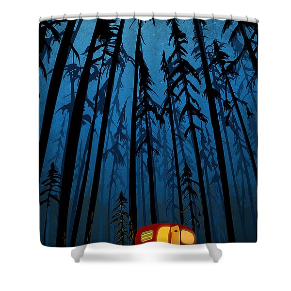 Shower Curtain featuring the painting Twilight Camping by Sassan Filsoof