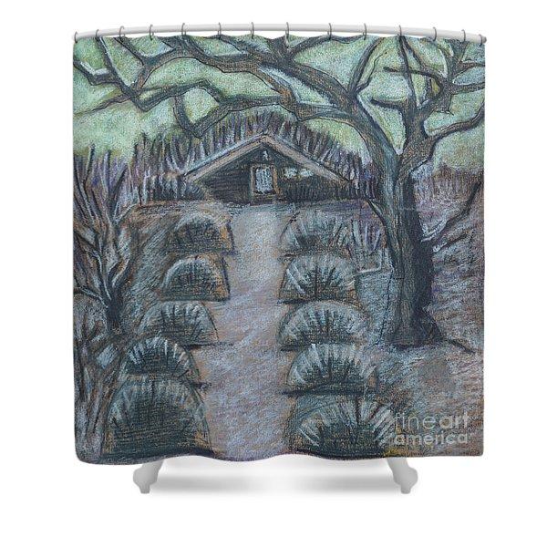 Twilight In Garden, Illustration Shower Curtain