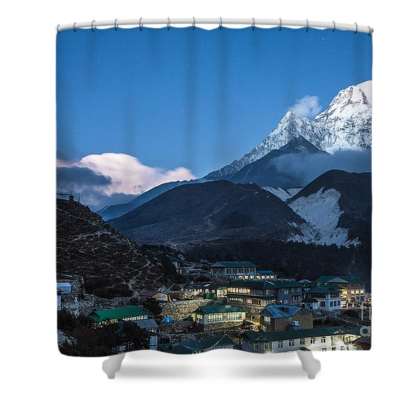 Twilight Over Pangboche In Nepal Shower Curtain
