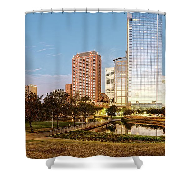 Twilight Panorama Of Downtown Houston Skyline From Discovery Green Urban Park - Houston Texas Shower Curtain