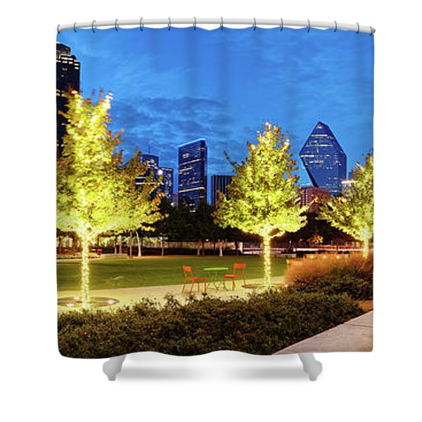 Twilight Panorama Of Klyde Warren Park And Downtown Dallas Skyline - North Texas Shower Curtain