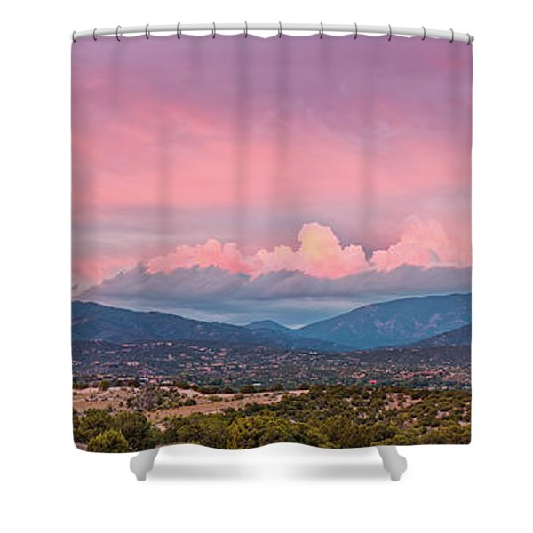 Twilight Panorama Of Sangre De Cristo Mountains And Santa Fe - New Mexico Land Of Enchantment Shower Curtain