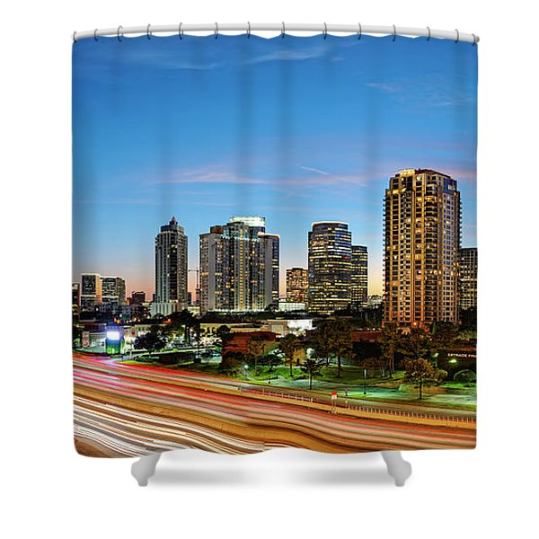 Twilight Panorama Of Uptown Houston Business District And Galleria Area Skyline Harris County Texas Shower Curtain