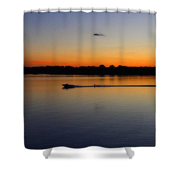 Twilight Water Skiing Shower Curtain