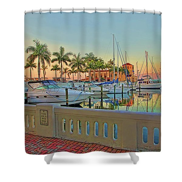 Twin Dolphin Marina Shower Curtain
