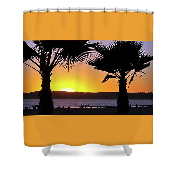 Twin Palms At Sunset Shower Curtain