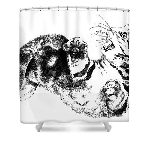 Twisted Kitten Shower Curtain