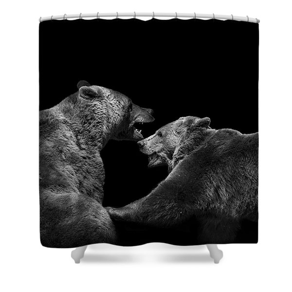 Two Bears In Black And White Shower Curtain