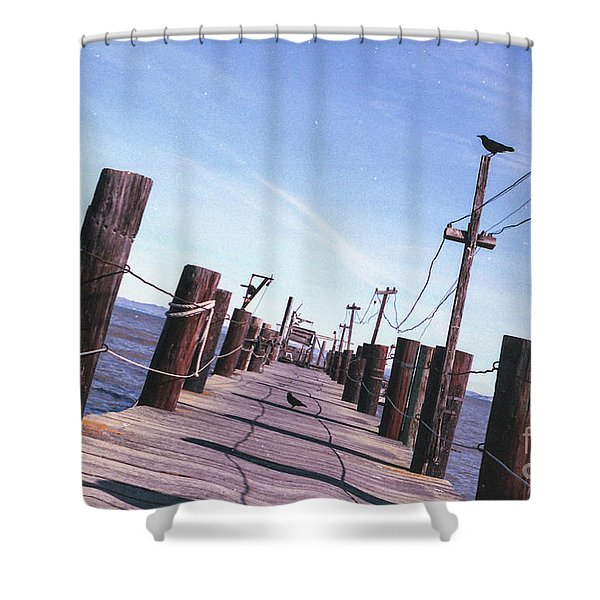 Two Birds On A Pier Shower Curtain
