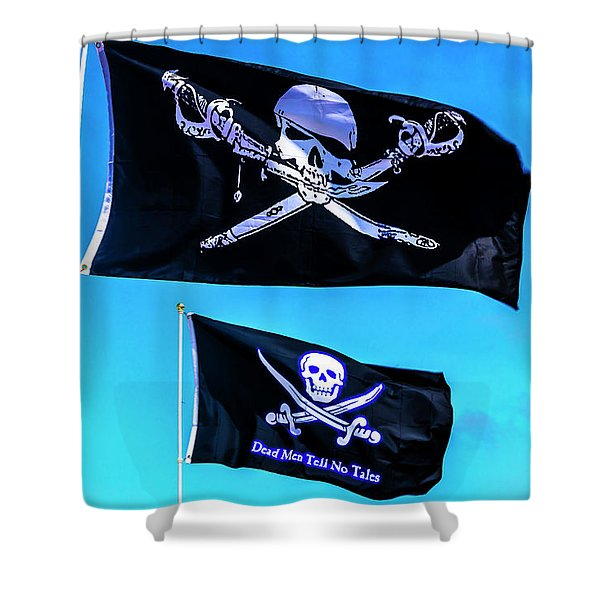 Two Black Pirate Flags Shower Curtain