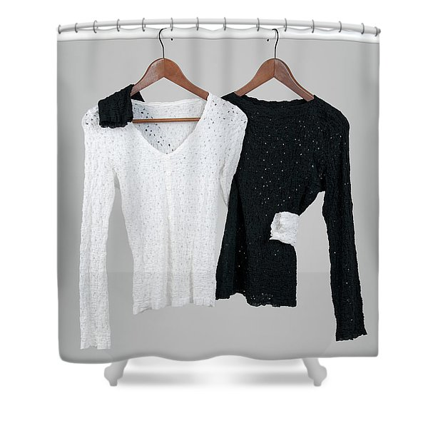 Two Blouses Hugging Each Other Shower Curtain