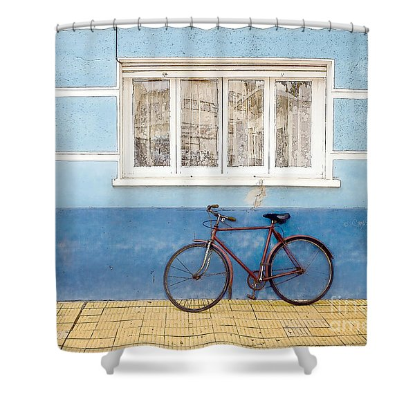 Two Blue Bikes Shower Curtain
