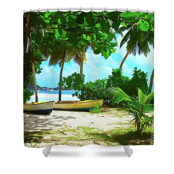 Two Boats On Tropical Beach Shower Curtain