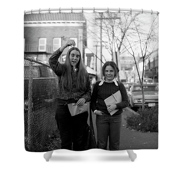Two Brown Students, Thayer Street, Providence, 1972 Shower Curtain