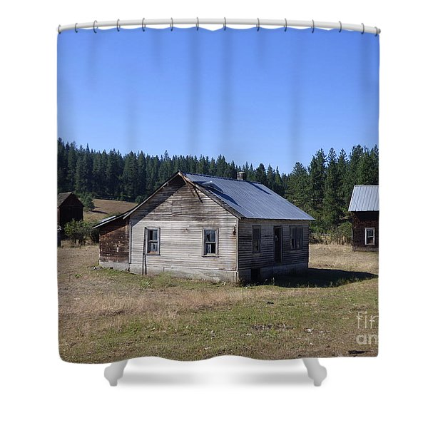 Shower Curtain featuring the photograph Two Cabins At Fruitland by Charles Robinson