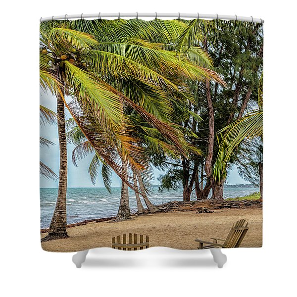Two Chairs In Belize Shower Curtain
