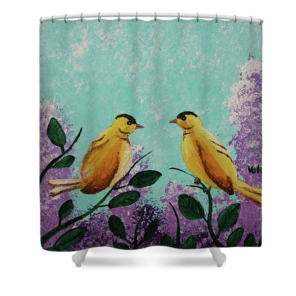 Two Chickadees Standing On Branches Shower Curtain