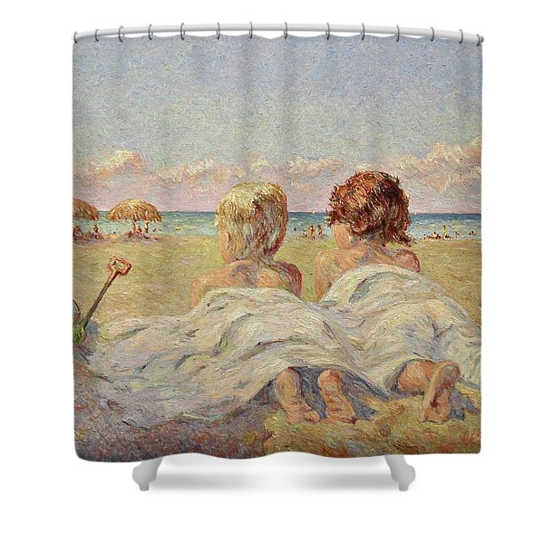 Two Children On The Beach Shower Curtain