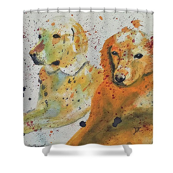 Two Dogs Shower Curtain
