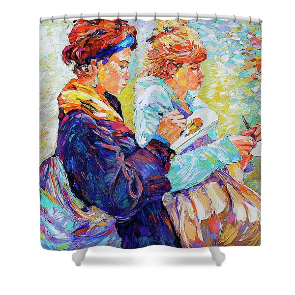 Two Drawing Ladies Shower Curtain