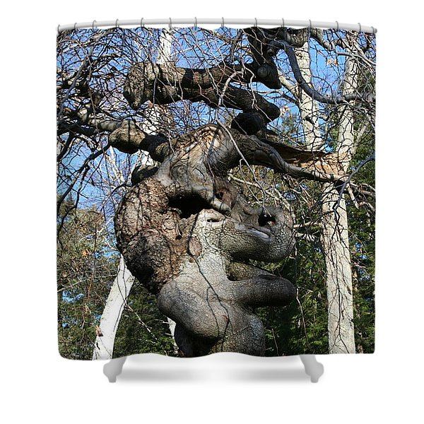 Two Elephants In A Tree Shower Curtain