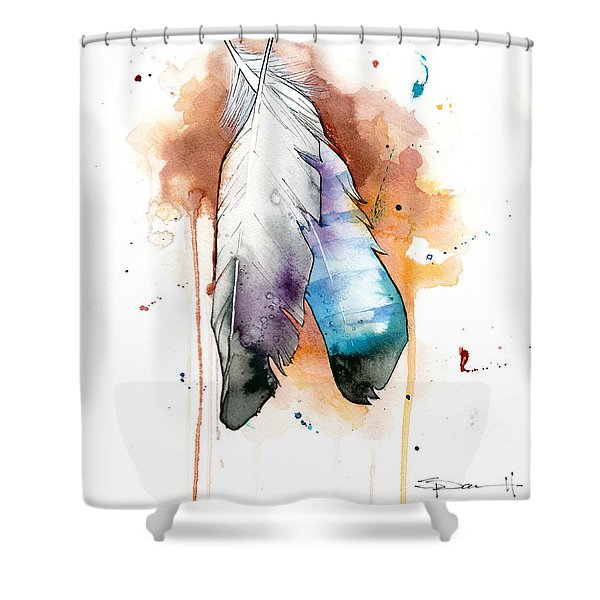 Two Feathers Shower Curtain