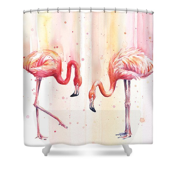 Two Flamingos Watercolor Shower Curtain