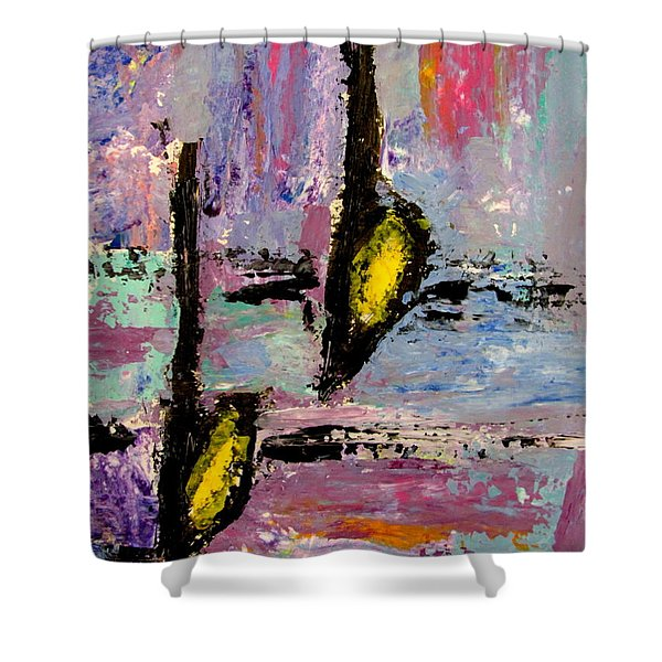 Shower Curtain featuring the painting Two Flats by Anita Burgermeister